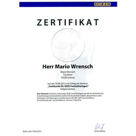 Sachkunde GEZE Feststellanlagen - Mario Wrensch