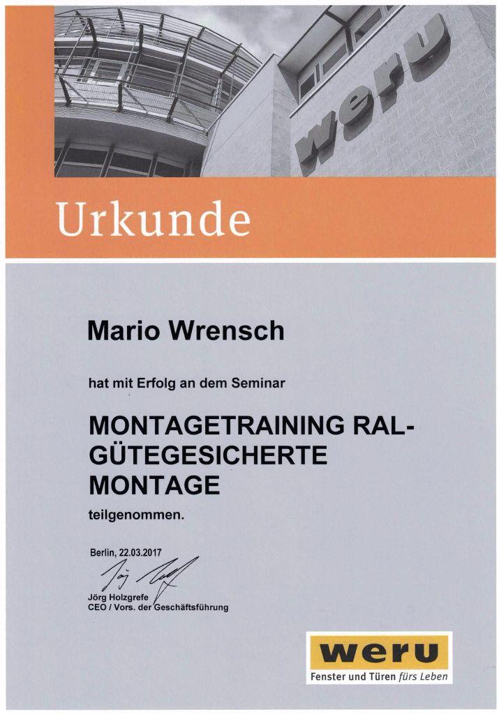 Montagetraining RAL-Gütegesicherte Montage - Mario Wrensch