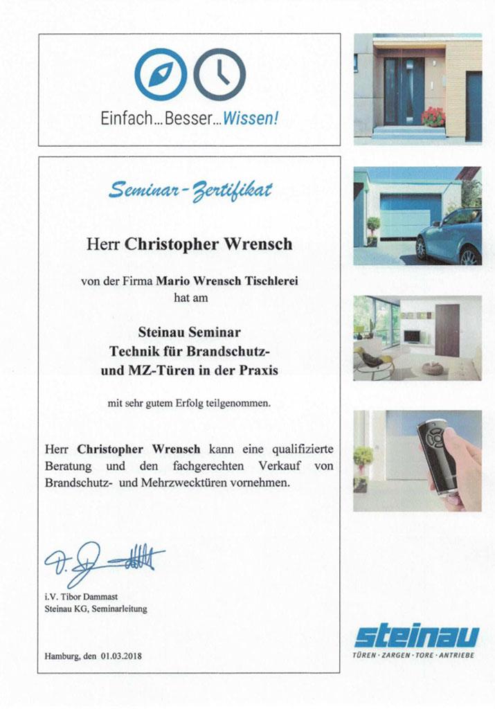 zertifikat-steinbau-brandschutz-tueren-wrensch