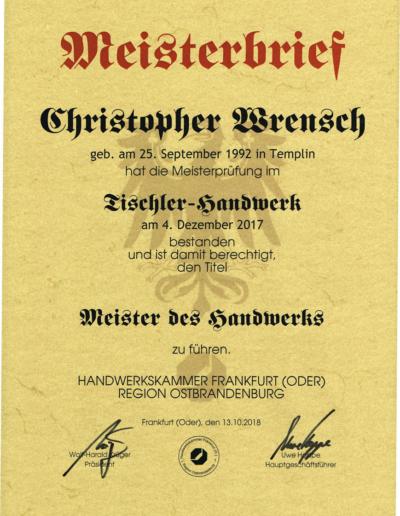 Meisterbrief Christopher Wrensch